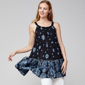 Free People Black Floral Trapeze Tunic